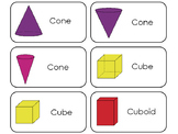 3D Shapes Flash Cards.  Math geometry educational flash cards.