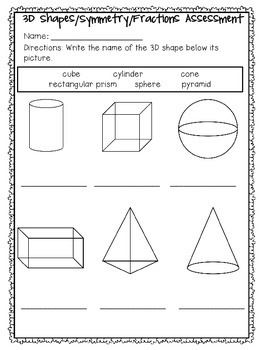 3D Shapes, Fractions, and Symmetry Test
