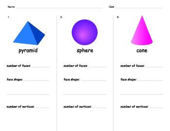 3D Shapes Game, Worksheets, and Poster
