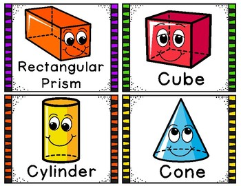 3D Shapes Game and Anchor Charts - 40 Task Cards!