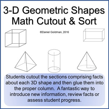 3D Shapes Geometry Cut, Sort and Paste Math Grades 3-6