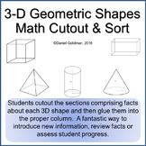 3D Shapes Geometry Cut, Sort and Paste Math Grades 3-6