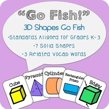 3D Shapes Go Fish! Solid Shapes Geometry Math Center!