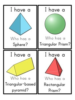 3D Shapes I Have, Who Has Game