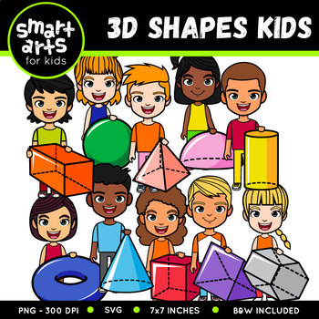 3D Shapes Kids Clipart