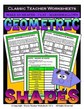 3D Shapes - Make 3D Shapes using Marshmallows/Clay - Grades 3-6 (3rd-6th Grade)