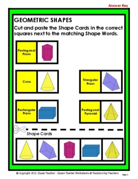 Match the 3D Shapes to Shape Names - Cut and Paste - Grades 2-4 (2nd-4th Grade)