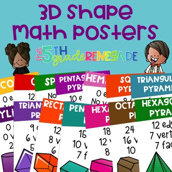 3D Shapes Math Anchor Charts ~14 Color Posters~
