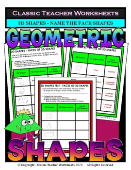 3D Shapes - Name the Face Shapes on 3D Shapes - Grades 3-6