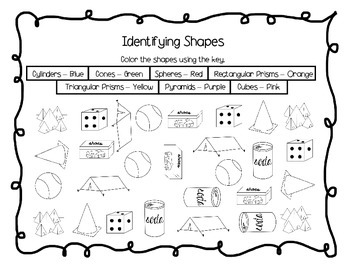3D Shapes - Necklace and Activity Sheets