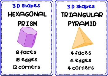 3D Shapes Pack: Posters, Game & Worksheets: Faces, Edges & Corners