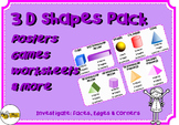 3D Shapes Pack: Posters, Game & Worksheets: Faces, Edges &