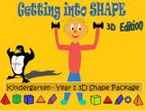 3D Shapes Package - Roll, Slide, Flat, Curved Worksheets,