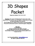 3D Shapes Packet for Kindergarten
