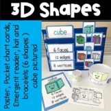 3D Shapes Pocket Chart Cards, Posters, Bracelets, Hats and