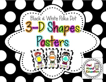 3D Shapes Posters {Black and White Polka Dot}