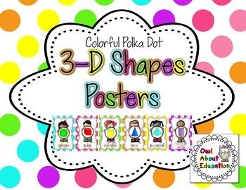 3D Shapes Posters {Bright Polka Dot}