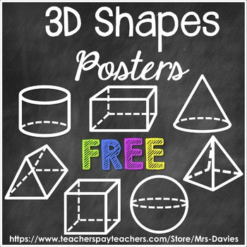3D Shapes Posters Chalkboard and White by Mrs Davies