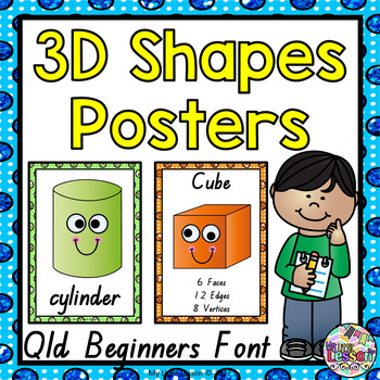 3D Shapes Posters QLD Beginners Font