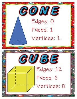 3D Shapes Posters - Superhero Themed
