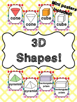 3D Shapes Posters in English! Mini posters included!