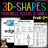 3D Shapes Printable Bundle of Worksheets Posters and Games