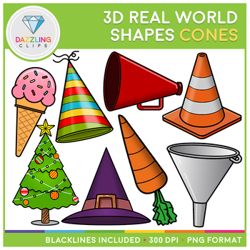 3D Shapes Real Life Objects Clip Art: Cones