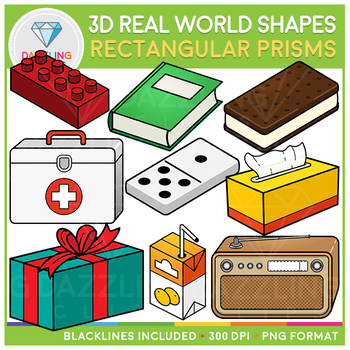 3D Shapes Real Life Objects Clip Art: Rectangular Prisms