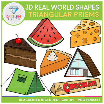 3D Shapes Real Life Objects Clip Art: Triangular Prisms