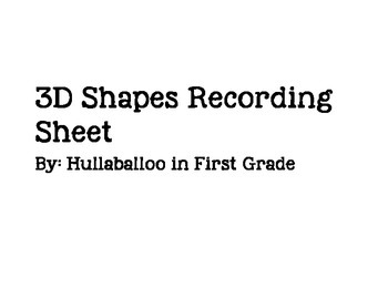 3D Shapes Recording Sheet
