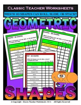 3D Shapes - Roll, Slide, Roll and Slide, or Stack - Grades 3-6 (3rd-6th Grade)