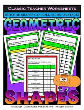 3D Shapes - Roll, Slide, Roll and Slide, or Stack - Grades 3-4 (3rd-4th Grade)