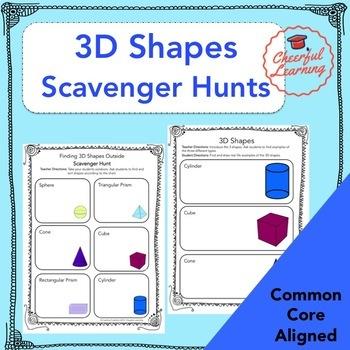 3D Shapes Scavenger Hunts Common Core Aligned