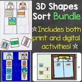 3D Shapes Sort Bundle (Print & Digital) Learning Centers &