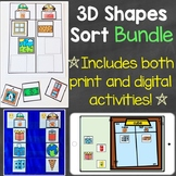 3D Shapes Sort Bundle (Print & Digital) Learning Centers &