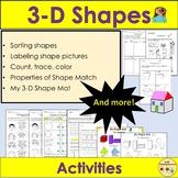 Shapes 3D Shapes - Sort, Count and Trace, Shape Mat, Worksheets PreK/K/Grade 1