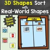 3D Shapes Sort Digital Boom Cards Distance Learning