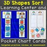 3D Shapes Sort Learning Center & Pocket Chart Cards Printable