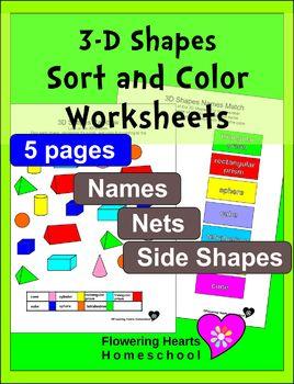 3D Shapes Sort and Color Worksheets