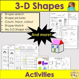 3D Shapes- Sorting Count Trace Colour, 3D Shape Mat, Works