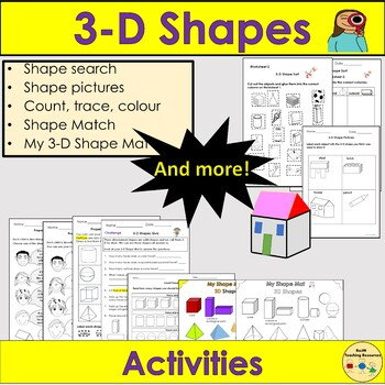 Shapes 3D Shapes- Sort Count Trace Colour, 3D Shape Mat, Worksheets - YR/KS1