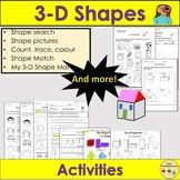 3D Shapes- Sorting Count Trace Colour, 3D Shape Mat, Works