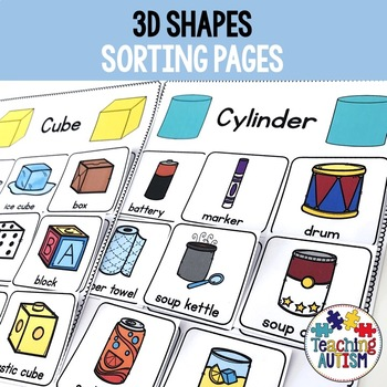 3D Shapes Sorting Pages