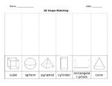 3D Shapes Sorting Worksheet