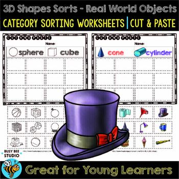 3D Shapes Sorts | Cut and Paste Worksheets