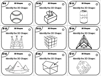 3D Shapes Task Cards for 3rd 4th 5th 6th Grade