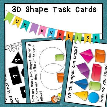 3D Shapes Task Cards HOTS Bloom's Taxonomy Grades 1, 2 and