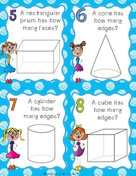 3D Shape Task Cards for 2nd Grade
