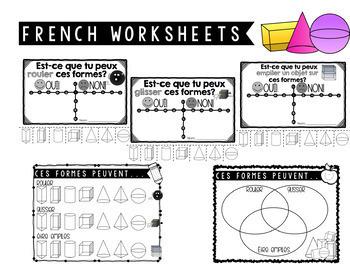 3D Shapes That Roll, Stack, Slide - Vocab Cards and Worksheets (Bilingual)