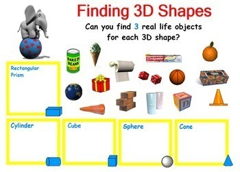 3D Solid Shapes 3-D Three Dimensional Shapes Geometry Smartboard Lesson